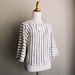 Striped Woven Wide-Sleeve Sweater Top